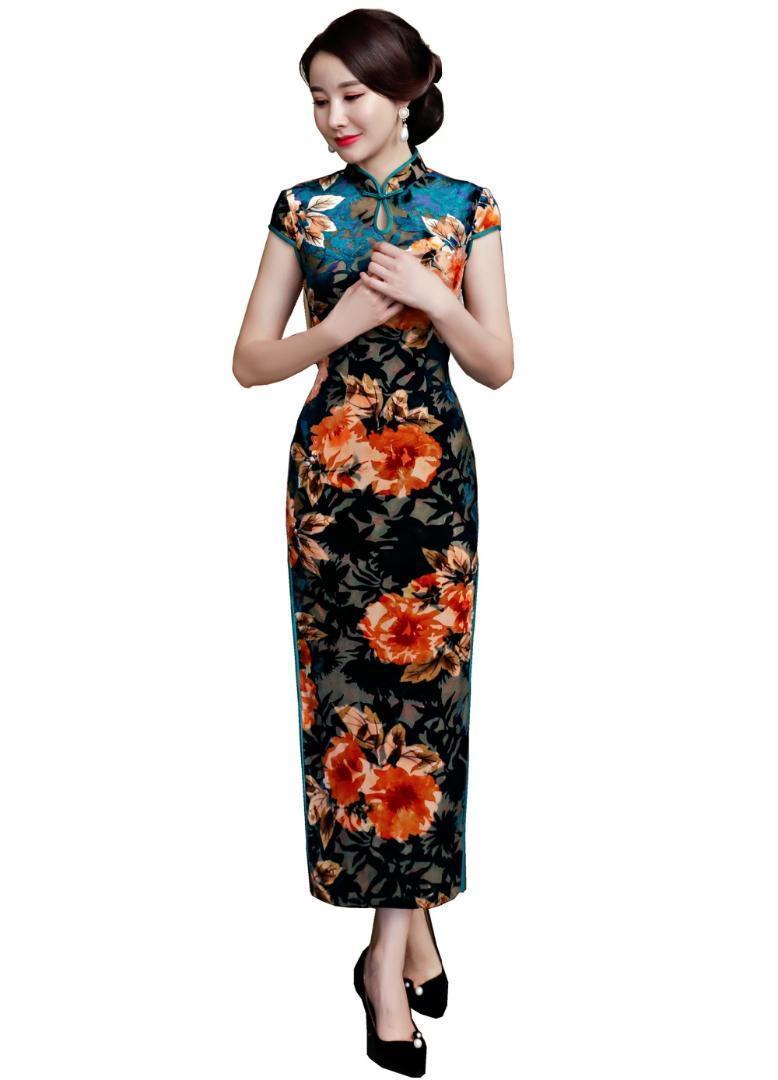 Şanghay Öyküsü 2018 Yeni Geliş Çince Geleneksel Elbise Uzun Cheongsam Çiçek Qipao Çinli Kadın Elbise