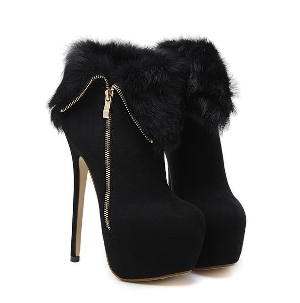 16cm Noir WARM Fur Zip Platform Side Ultra High Heels femmes Bottines Come With Taille Box 34 à 40