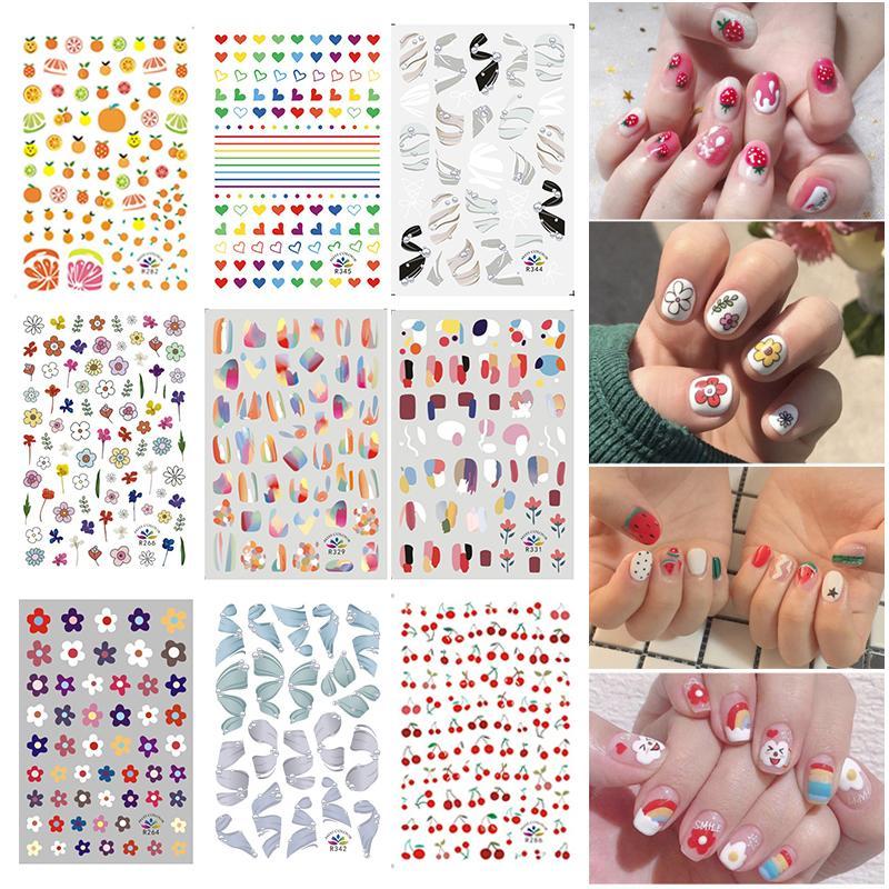 1pcs Nail Stickers Jóia impressão de padrões bonito da fruta Coração da flor Pintura Adesivos DIY Nail Arte decorativa Decalques TSLM2