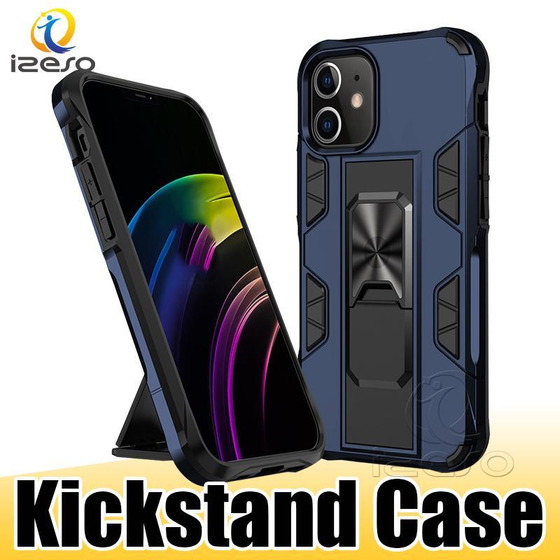 킥 스탠드 케이스 아이폰 12 11 프로 XS 최대 XR MOTO G 스타일러스 E 2020 보호자 휴대 전화 케이스 링 홀더 izeso와