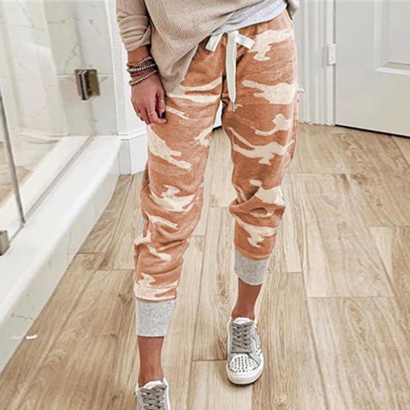 Camouflage Printed Frauen Kordelzug Anzug Hosen-Sommer-hohe Taillen-dünne Hosen für Frauen Street beiläufige Dame Clothes