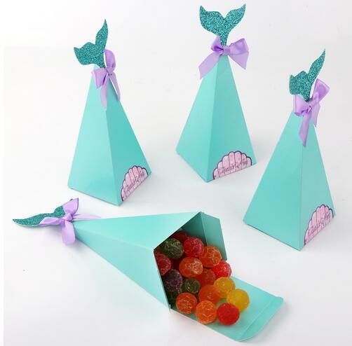 Petite Sirène Coffrets cadeaux papier doux Bonbonnière sirène de fête d'anniversaire Décorations enfants boîtes de faveur pour le mariage GB415