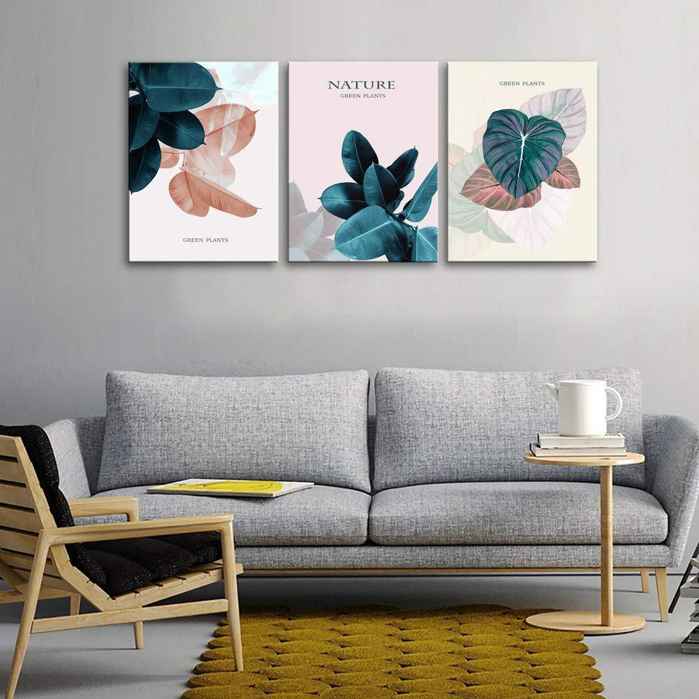 Canvas pintura planta Green Leaf Imagem de impressão para Quarto Home Living Room Decor 3 Painel Modern esticada giclée Posters, impressões