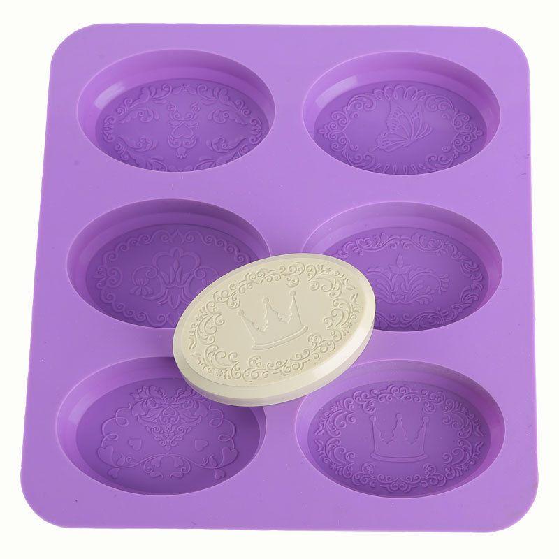 Jabón molde de silicona jabón de aceite esencial de hacer moldes de cocción herramienta flor hecha a mano la bandeja 6 Cavidad grande