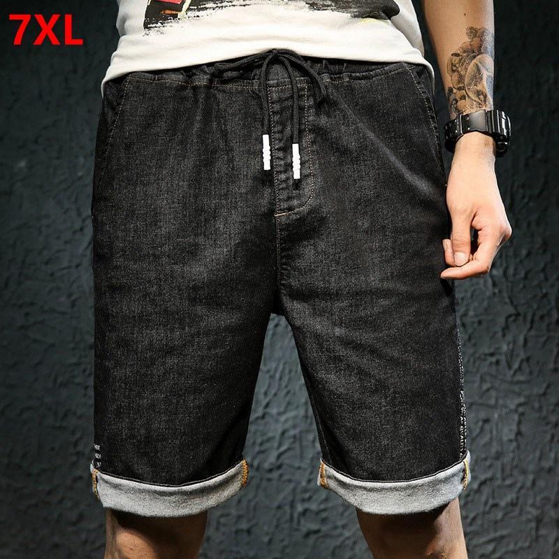 Yaz ince kesit elastik bel kot şort erkekler artı boyutu XL elastik bel pantolon 7XL6X5