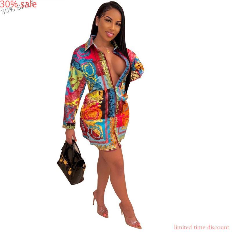 - 30% Hemd zuknöpfen Kleid Vestidos Herbst 2020 Frauen arbeiten lange Hülse afrikanische Kleider Tuniken Blumen Büro-T-Shirt-Kleid