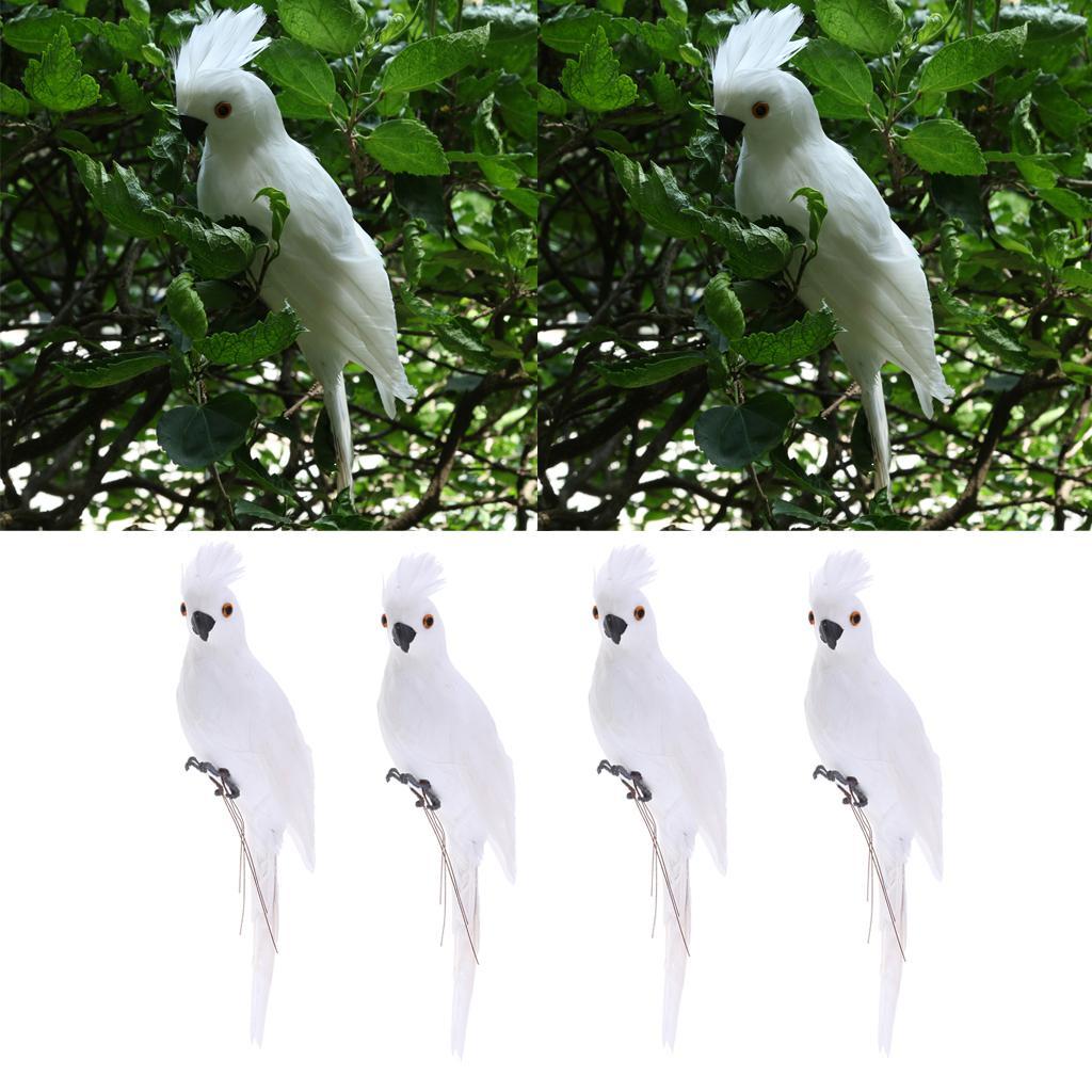 4x LifeLike Птица орнамент Фигурка 35см Parrot Модель Статуя Lawn Скульптура