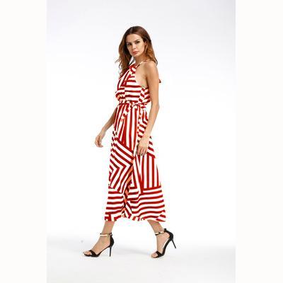 Womens vestido Womens New swing longo Saias Moda geométrica impressão soltas vestido Mulheres Verão Vestuário Suspender Vestido