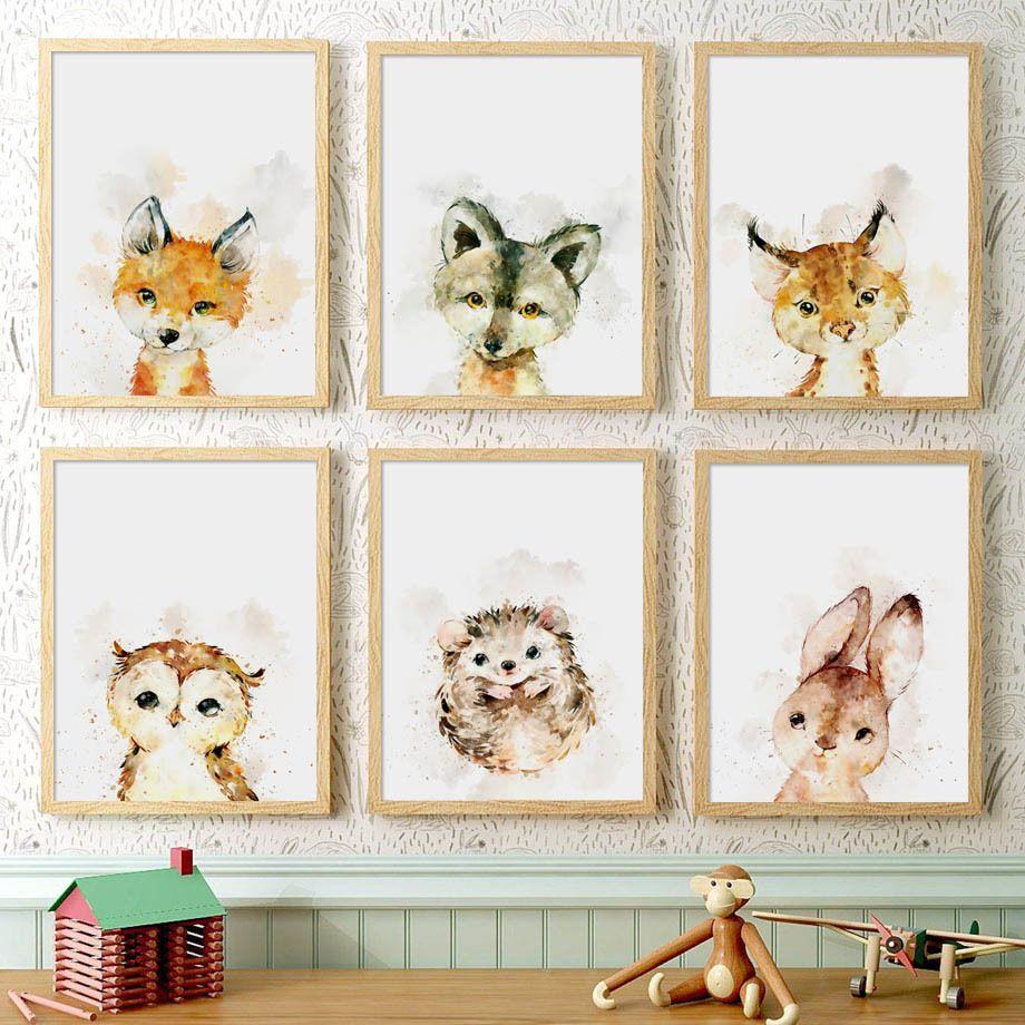 Fox Wolf Owl Igel Kaninchen Nordic Poster und Drucke Wall Art Leinwand-Malerei Kinderzimmer-Wand-Bilder Baby-Kinderzimmer-Dekor
