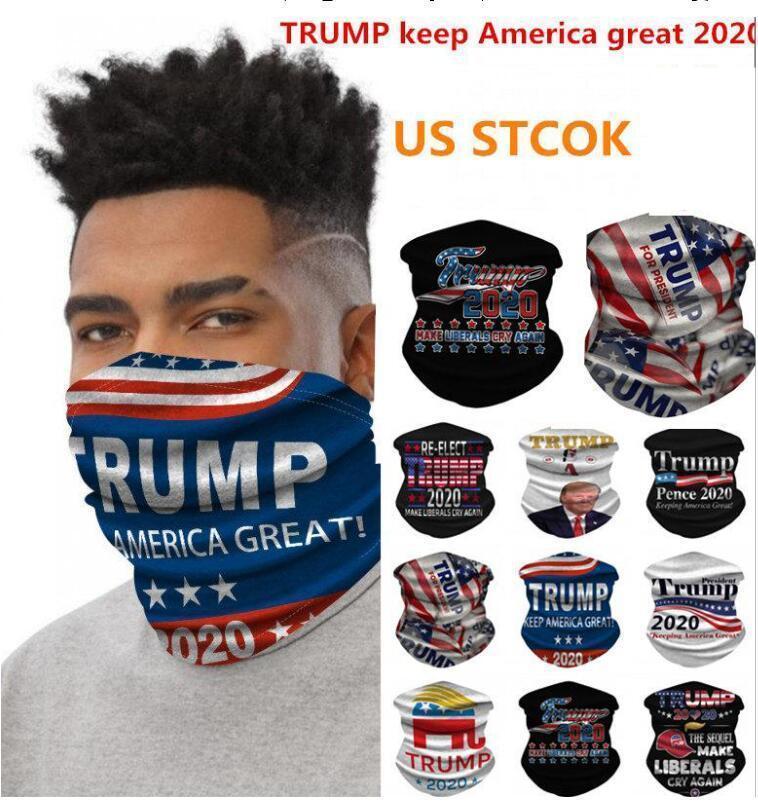 DHL 3-7days diseñador 2020 Trump estadounidense seda Elección de hielo libre Fantasía turbante bufanda BandanaS3D Imprimir máscaras contra el polvo de la cara Escutelaria FY6068