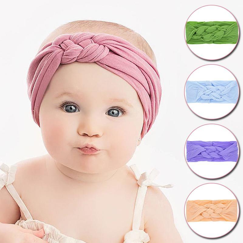 Девочки оголовьем Сплошной крест Twisted Упругие Hairband Симпатичные Headwrap Новорожденный узел Тюрбан новорожденные Аксессуары для волос