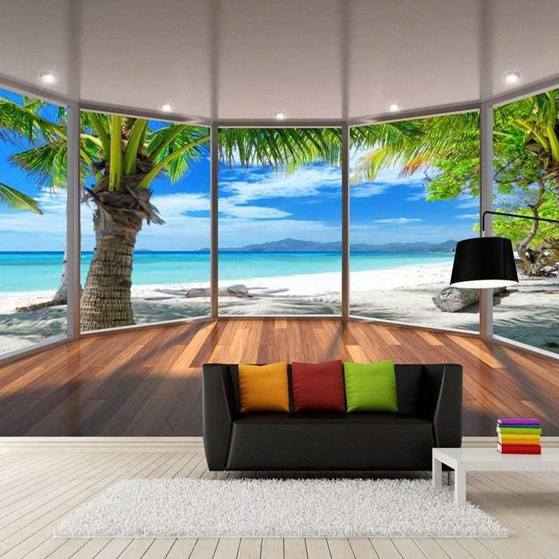 Drop Shipping Bilderwand-Papier-3D Stereoscopic Balkon Fenster Strand Kokosnuss-Bäume Landschaft Dekoration Tapete Tapete Wandwand 6QYj #