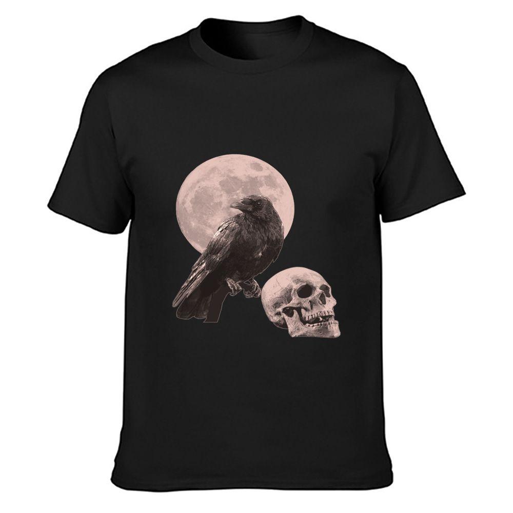 cuervo con la luna y el cráneo gótico halloween camiseta de algodón de verano fresco loco normal O Cuello diseñador de la camisa informal