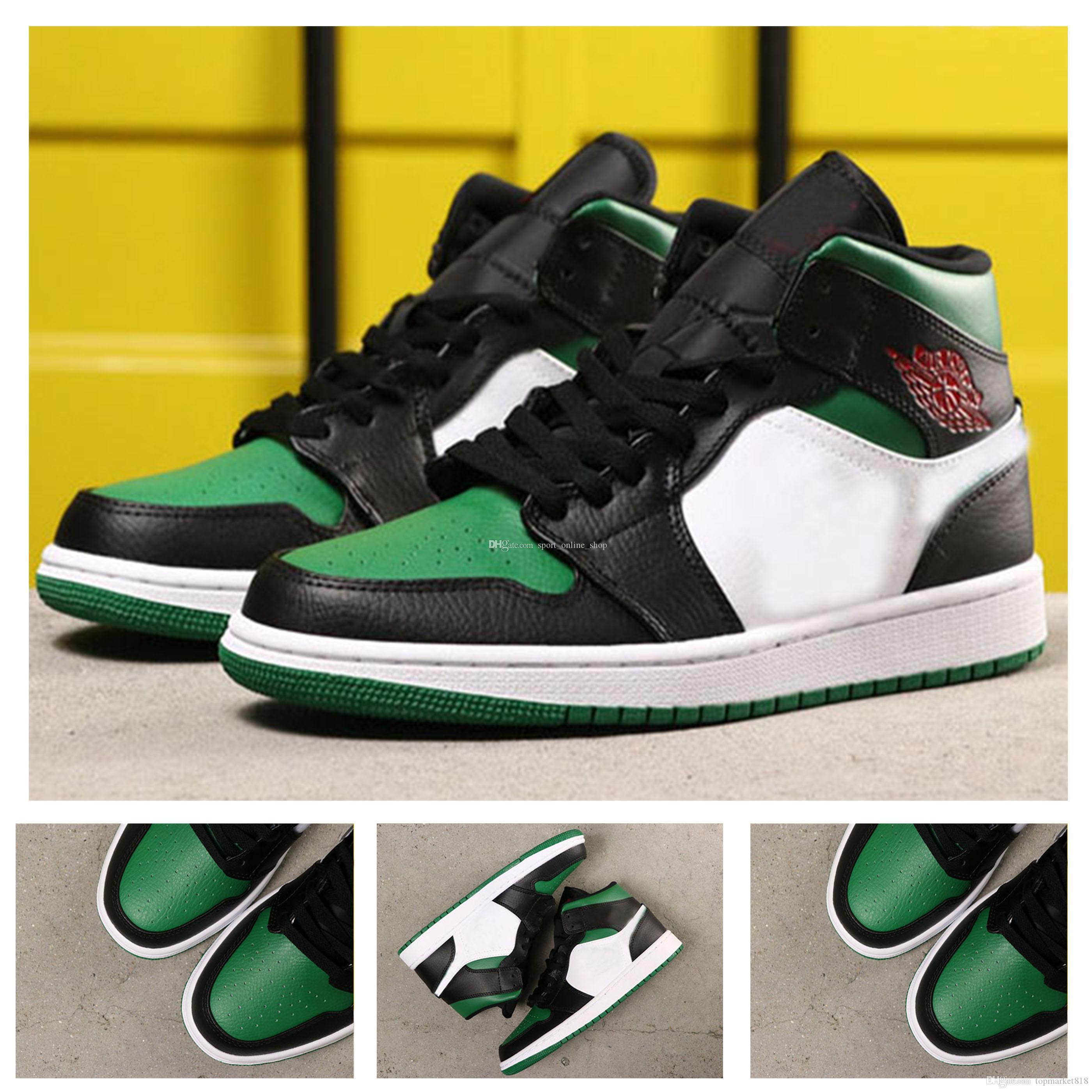 2020 Çıkış yüksek kaliteli 1s 1 Yüksek OG Çam Green 1s Man Basketbol Ayakkabı kutusu 555088-067 açık Spor Sneakers