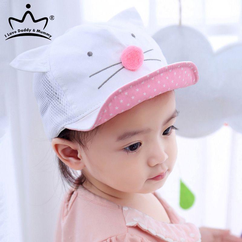 Cute Baby Boy девушка H малыши мультфильм Cat Ear Бейсболка лето Дети дышащая сетка ВС Hat