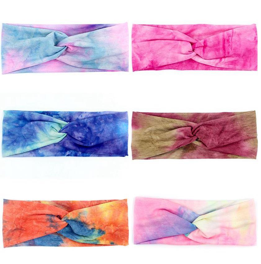 Femmes Bandeaux headwraps Tie Dye Turban Bandeaux Accessoires de mode cheveux Courir Bandeau Sport hairband 6 STYLES KKA7987