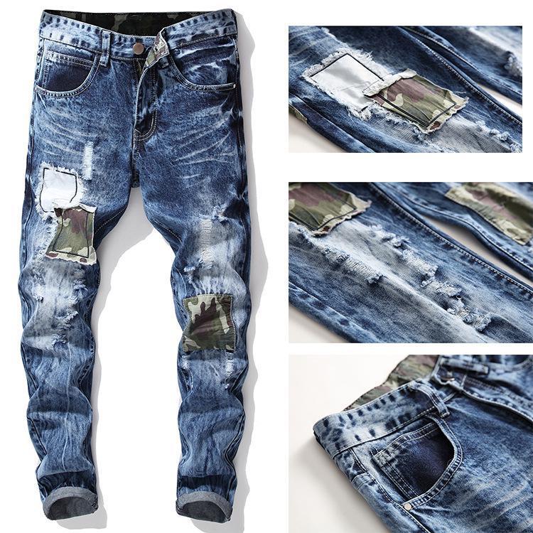 Denim de homens Lavados Calças Jeans slim Calças retas
