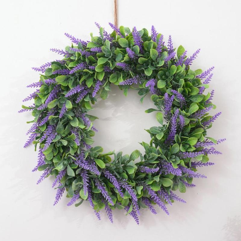 46cm en plastique artificielle Fleur Feuille Couronne Garland Lifelike fête de Noël Ornement Accueil Porte Hanging décoration Bague