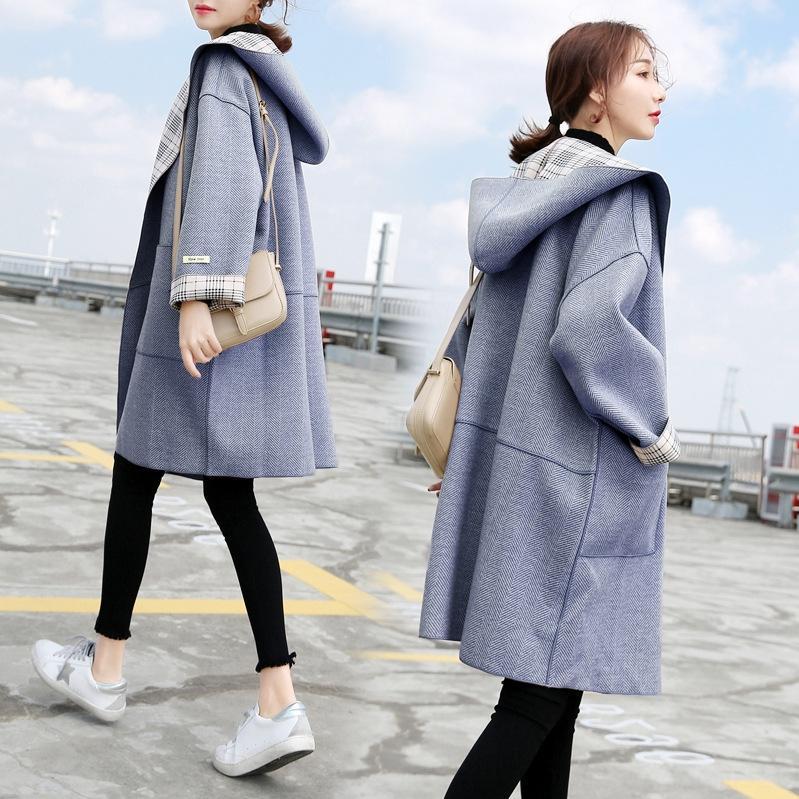 mujeres de invierno 6E1QV de lana 2019 otoño y de nuevo mitad de la longitud de lana de lana Escudo neblina azul abrigo suelto de doble cara pequeña capucha de lana