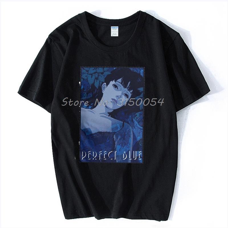 O pescoço Homem Lazer T Shirt Perfect Blue Satoshi Kon Anime 1997 Grande t-shirt dos homens novos dos desenhos animados de T-shirt de algodão T Harajuku