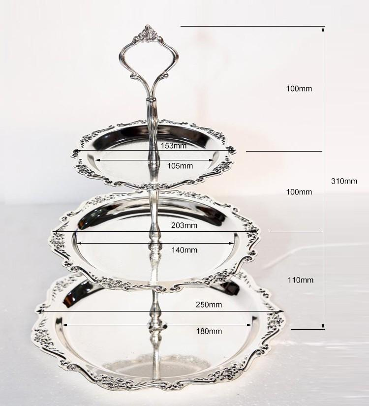 Free Shipping silvery alloy cake stand dessert plate pan fruit tray for home hotel decor birthday wedding party