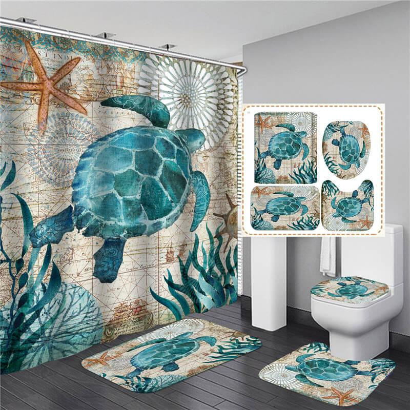 Bathroom Sets Shower Curtain Set 4 Pcs, Bathroom Sets With Shower Curtain And Rugs