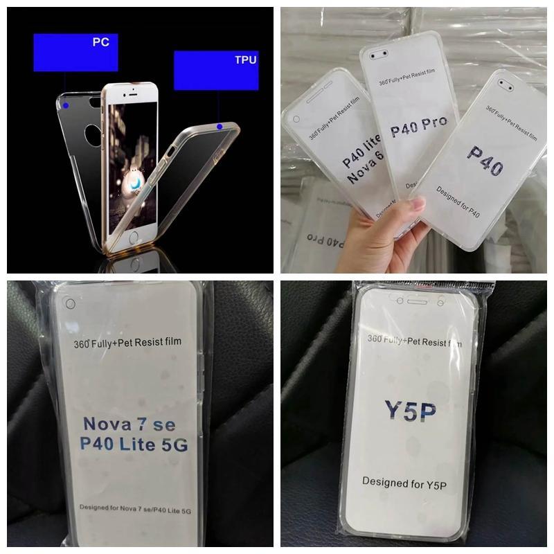 Volle Körper-Abdeckung Fall für Huawei P40 Lite E Pro V30 Nova 7 6 Y8P Y6P Y5P NOVA 7SE 360 Grad harten PC + TPU Kristall doppelseitiger 2in1-Abdeckung