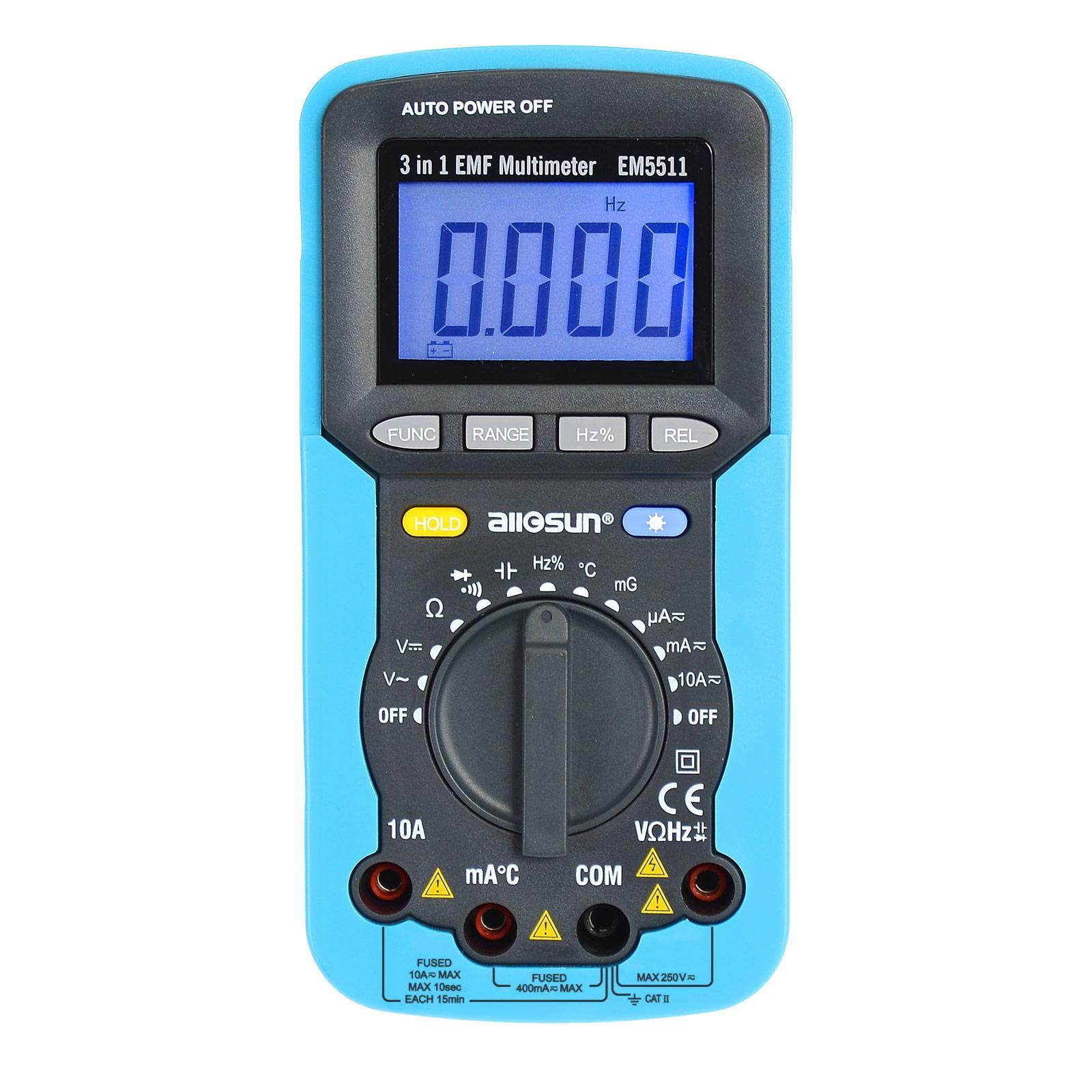 자리 자동 범위 멀티 미터 핸드 헬드 자기장 방사선 검출기 EMF 필드 방사선 테스터 민감한 온도 테스터 모든 일 EM5511