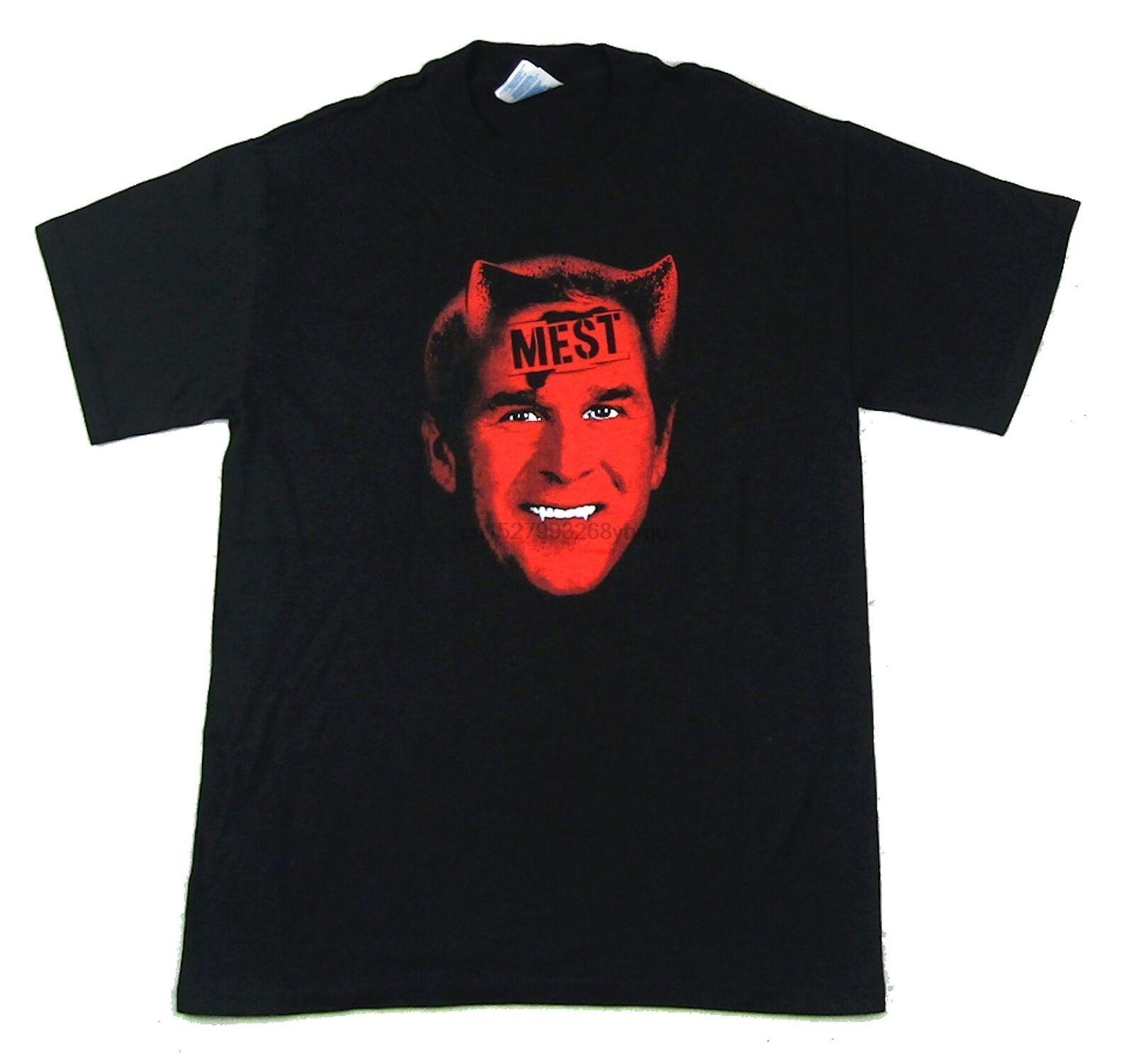 Mest Bush Satana cadere Elezione Tour shirt 2004 Black T Nuovo Ufficiale Banda Merch