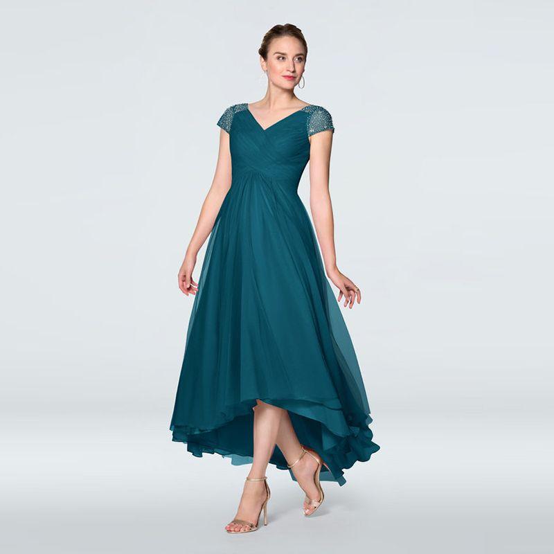 Por encargo de la gasa madre Alta Baja del banquete de boda de novia de escote V Cap vestidos de mangas rebordear Vestidos de vuelta