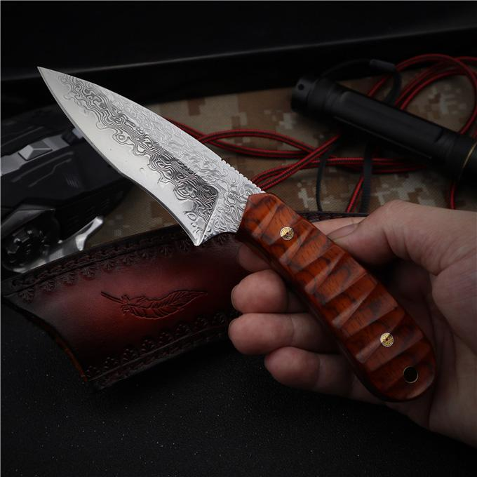 2020 New VG10 Damascus Steel Survival Straight Hunting Knife Full Tang Rosewood Handle Fixed Blade Knives With Leather Sheath