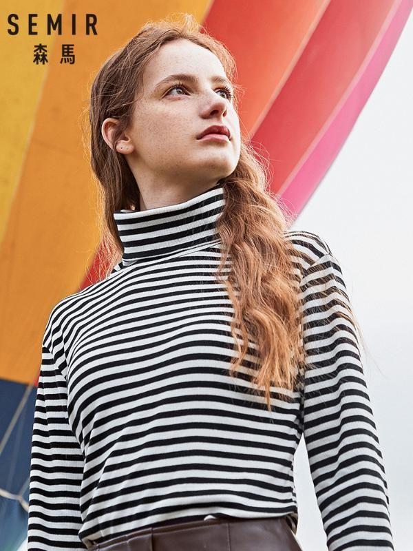Semir Long'un kollu tişört kadın 2020 kış yeni aşağı doğru t gömlek sıcak yüksek boyun ince tshirt öğrenci gelgit