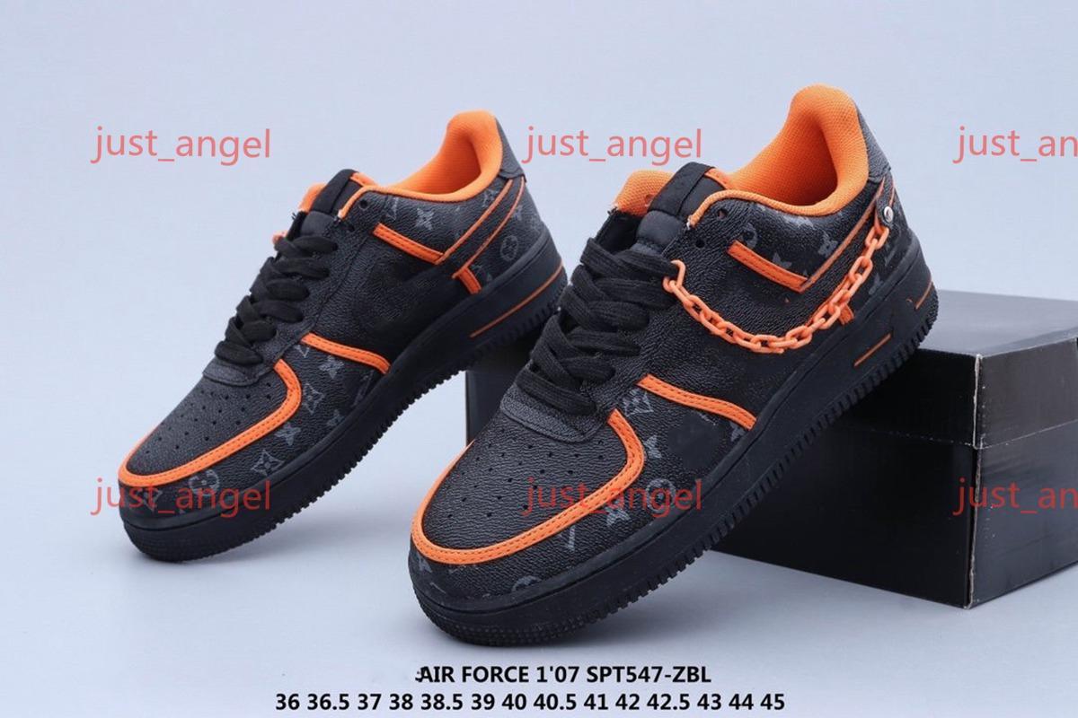 Nike Air Force 1 x Louis Vuitton последней моде случайные обуви на заказ Low Time Out Air One Utility Orange Black Men кроссовки силы Кроссовки Кроссовки 1s Спорт Skate
