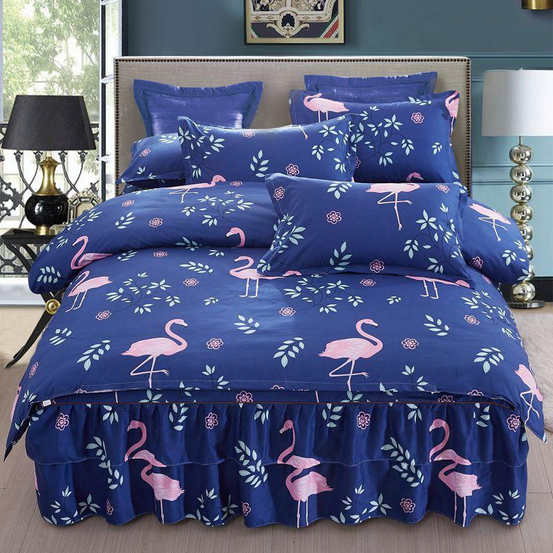 Lace saia da cama de quatro peças saia antiderrapante cobrir cobrir colcha 1,8 m cama de casal edredão 2,0