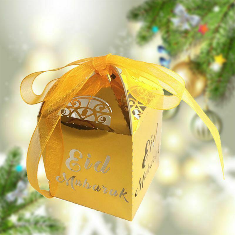 20PCS Candy Box Рамазан партии Декоративные коробки подарка выдолбленные DIY конфеты Муслим Эйд Party Главная Украшение сада