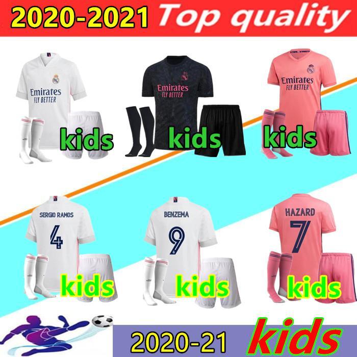 Çocuklar kitleri 20/21 Real Madrid TEHLİKESİ futbol forması setleri 2020 2021 SERGIO RAMOS TEHLİKESİ BENZEMA Modric camiseta de futbol Futbol gömlek + çorap