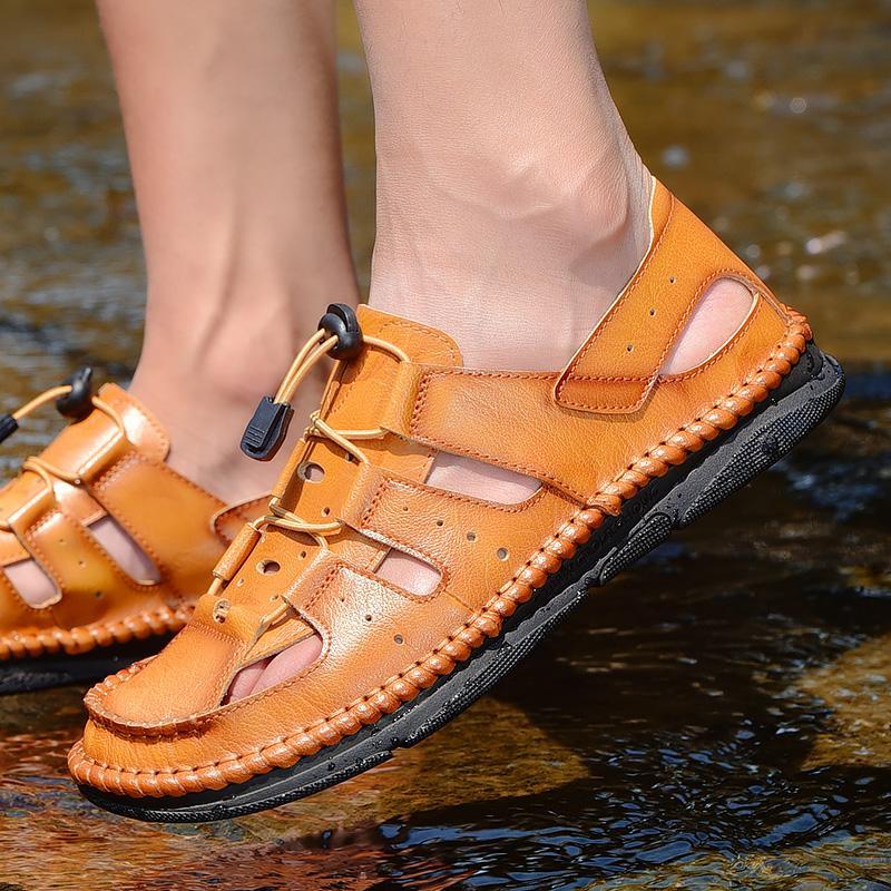 2020 Nuovo Sandalia Maschio flip casuale sandali di cadute di scarpe di cuoio Scarpe Uomo Professionale Estate biciclette Slipper Outdoor 38-44