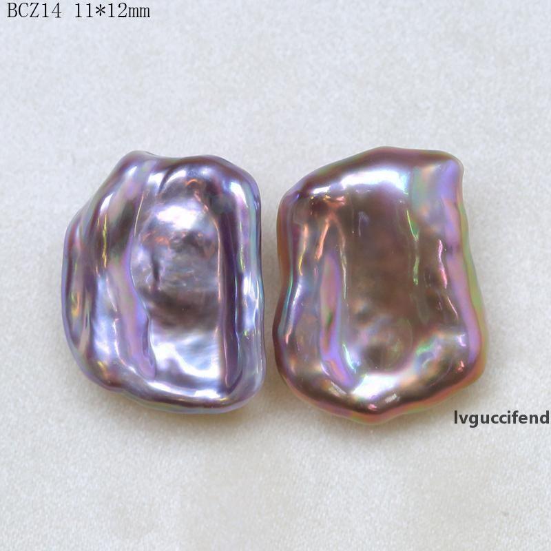 BaroqueOnly голая пара фиолетовый большой размер высокого качества плоские бусины природной пресной воды жемчужина для серьги делает BCZ T200507