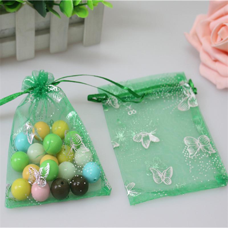 Venta al por mayor 200pcs / lot 7 * 9 cm de regalo de boda de la mariposa verde organza bolsos del favor de la Navidad bolsas de organza