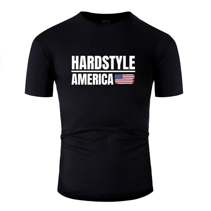 Imprimer Aménagée Hardstyle Amérique Hardstyle marchandises T-shirt impressionnant des hommes et des femmes T-shirts col rond Hiphop Top