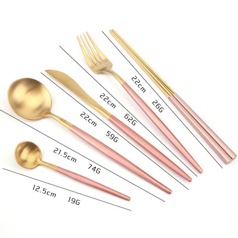 Paslanmaz Çelik Çatal Portekizce biftek Bıçak Çatal Kaşık Chopsticks Dört Parça Katı Renk Ev Bıçak Çatal