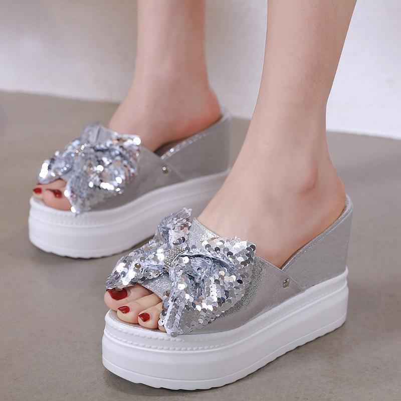 Shoes Increased Internal Peep Toe Slippers Women Summer Platform Luxury Slides Pantofle Heeled Mules On A Wedge Designer 202