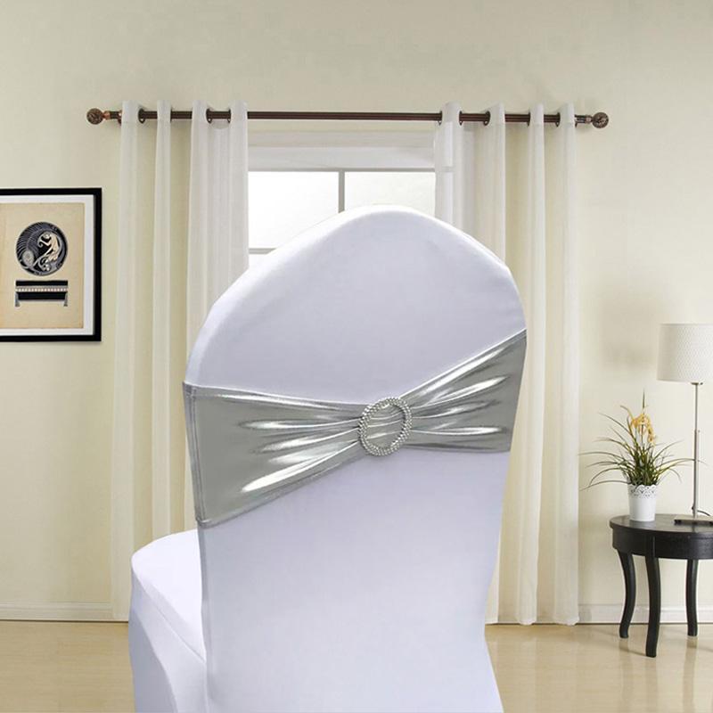 100pcs métallisé Or Argent Spandex Lycra Chaise Jupettes Bands Royal Blue Violet Rose Chair Cover Sash de soirée de mariage Décor
