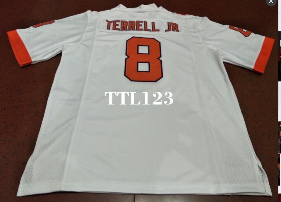 Men Clemson Tigers #8 A.J. Terrell Orange White Football Jersey or custom any name or number jersey
