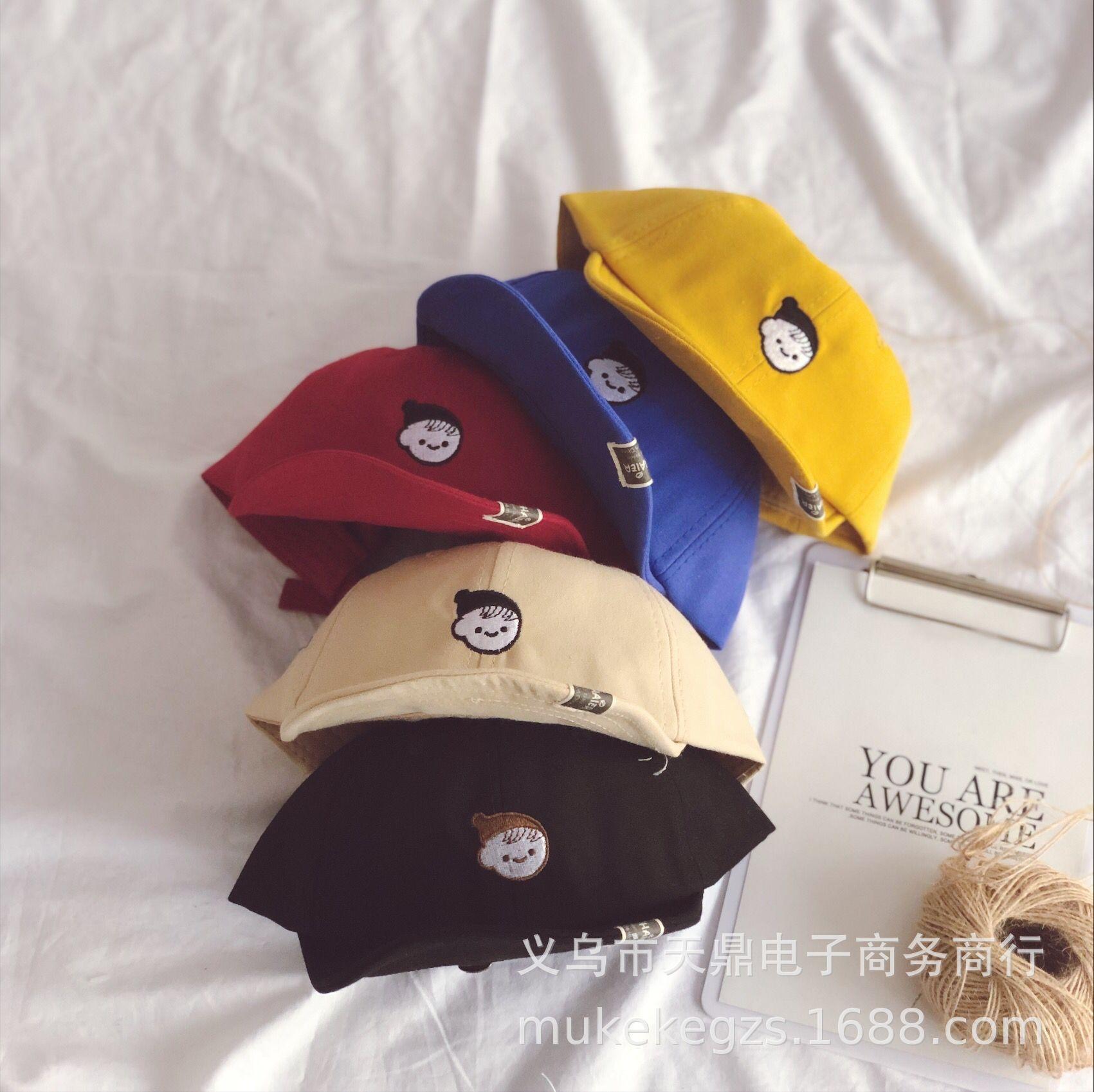DcmGB coreana carina ragazza ricamato bordo soft cappello da sole anatra baseball cap parasole cappello lingua tessuto tutto-fiammifero di bambini per bambini ombrellone basebal