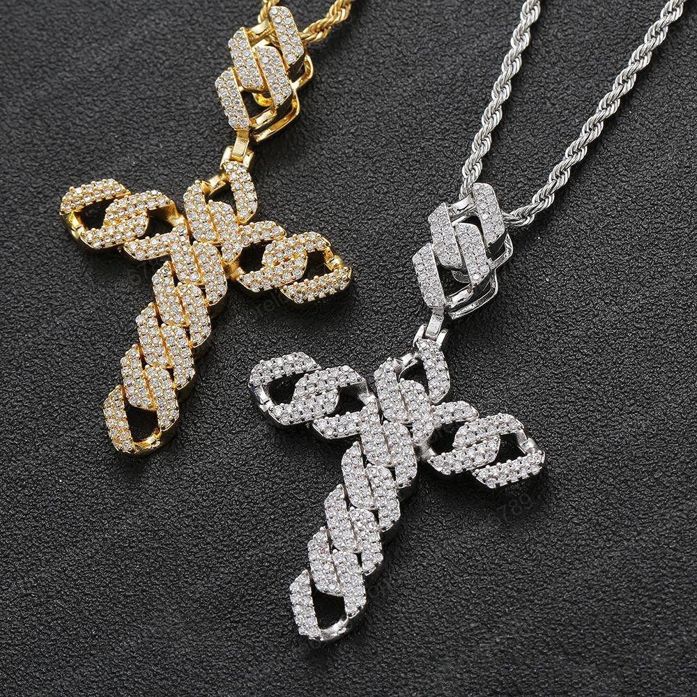 Neue Art und Weise Kreuz-Halsketten-Gold überzogen Micro Steeing CZ Kreuz Anhänger Halskette für Männer Hip Hop Schmuck Nizza Geschenk