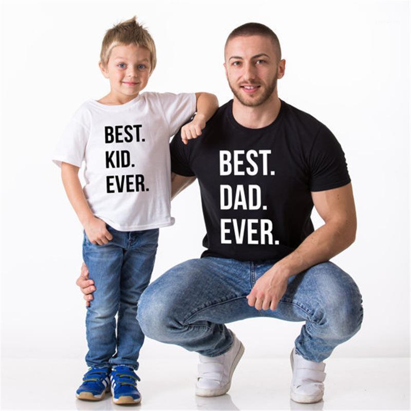 Tshirts Aile Yaz O harfi yaka Kısa Kollu Tees Erkekler Moda Gevşek Erkek İYİ MOM BABA ÇOCUK Tops