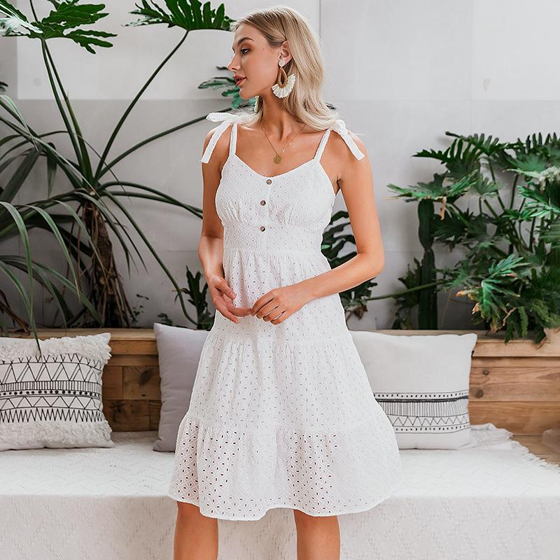 Womens Summer autumn Dresses women's cotton dresses elegant party vacation Beach skirt Embroidery hollow female dress open back dress