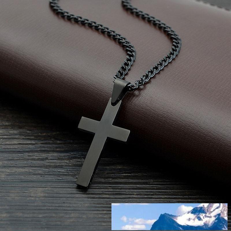 Christian beten jesus Charme Querhalsketten-Anhänger für Männer Frauen Geschenke Art und Weise Edelstahl-Schmuck schwarz Aussage Halskette Religion