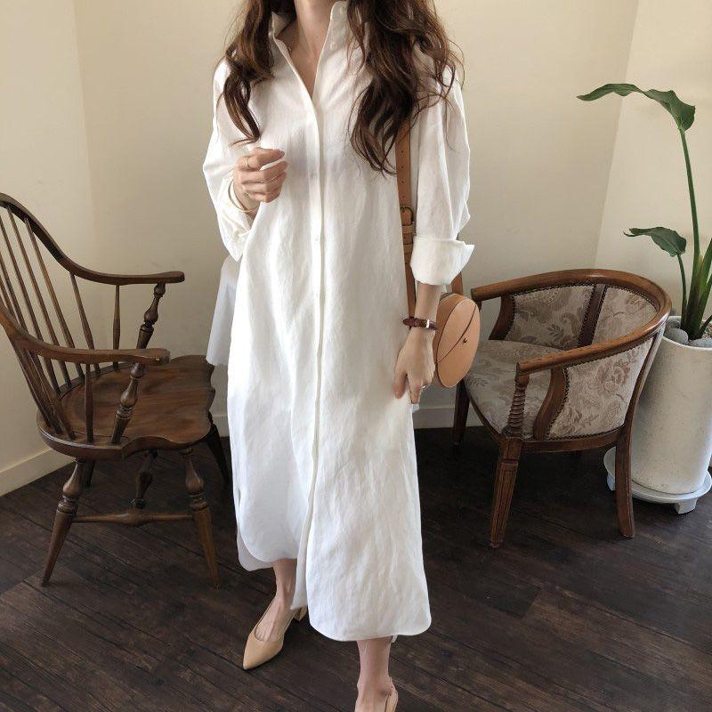Tops Todo-fósforo de la blusa blanca suelta nuevas mujeres de la buena calidad del resorte nueva de gran tamaño de algodón floja larga blusa de lino de las mujeres